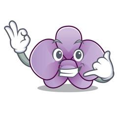 Call me orchid flower mascot cartoon vector