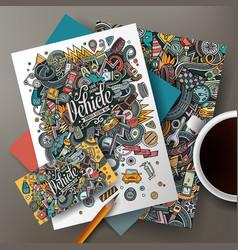 cartoon doodles auto corporate identity set vector image