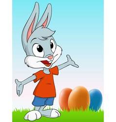 cartoon easter rabbit vector image vector image
