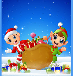 cartoon kid and elf in the winter background with vector image