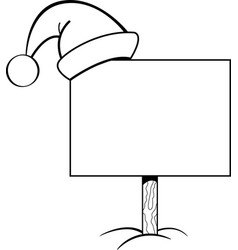 Cartoon sign with a santa hat on it vector