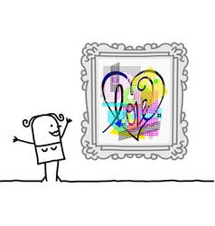 Cartoon woman watching a pop art style heart vector