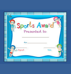 Certificate template with kids swimming vector