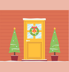 christmas holiday doorway background with garlands vector image