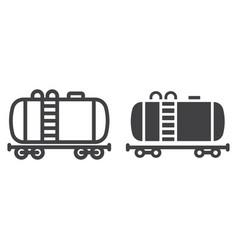 Cistern oil train line and glyph icon logistic vector