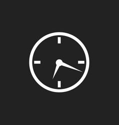clock icon flat design on black background vector image