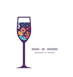colorful bouquet flowers wine glass silhouette vector image