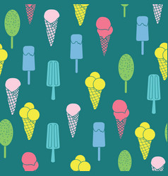 colorful ice cream and stars seamless pattern vector image