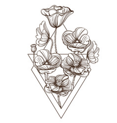 Contour image of poppies floral design element vector
