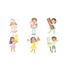 cute kids eating sweet desserts set happy boys vector image