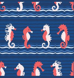 cute seahorses cartoon pattern hand vector image