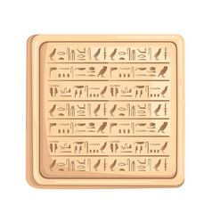 Egyptian hieroglyphics on stone plate ancient vector