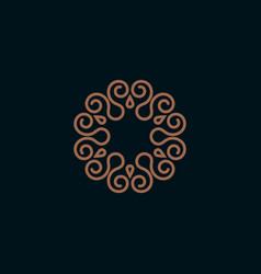 elegant monogram logo design template vector image