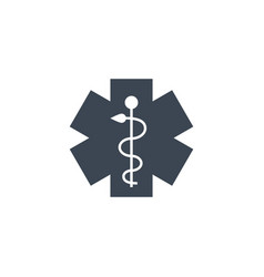 Emergency star related glyph icon vector