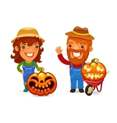 Farmers With Halloween Pumpkins vector image