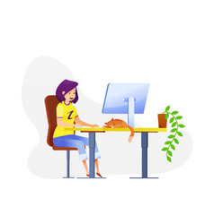 female flat freelancer girl with cat vector image