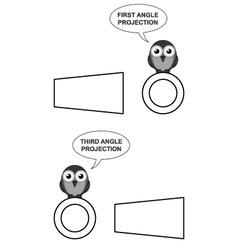 First and third angle orthographic projection vector