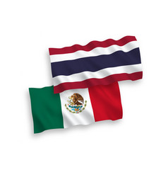 Flags mexico and thailand on a white background vector