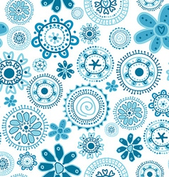 Floral seamless with doodle blue flowers vector image