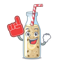 Foam finger sweet banana smoothie isolated on vector