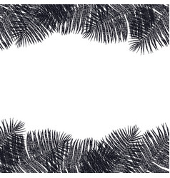 frame of black palm leaves hand drawing vector image
