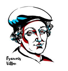Francois villon portrait vector