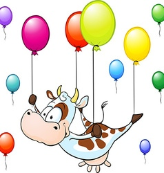 funny cow flying with colorful balloon isolated on vector image