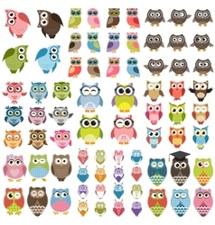 Funny Owls set vector