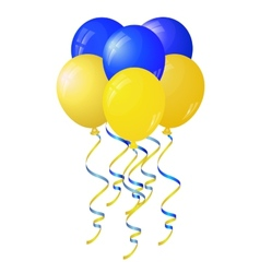 Glossy yellow and blue balloons stylized flag of vector
