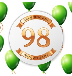 Golden number ninety eight years anniversary vector