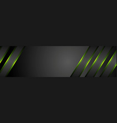 Green glowing stripes abstract tech banner vector