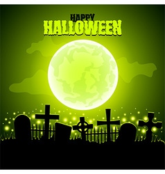 Green moon and graveyard Halloween background vector