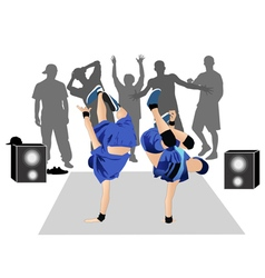 Guys dancers breakdance street vector