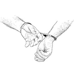 handcuffs on hands vector image