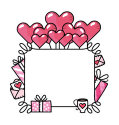 Heart balloons with gift box vector