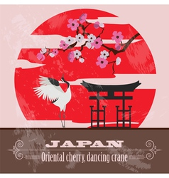 Japan landmarks Retro styled image vector