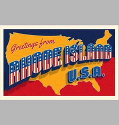 july 4th rhode island usa retro travel postcard vector image