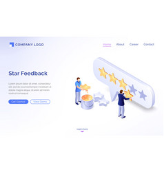landing page star feedback model vector image