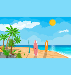 Landscape of palm tree on beach surfboard vector