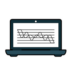 Laptop computer with graph chart on screen icon vector