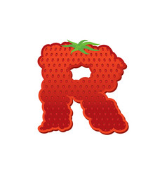 Letter r strawberry font red berry lettering vector