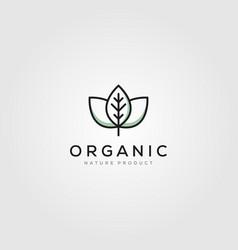line art leaf organic logo minimalist design vector image