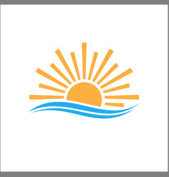 logo design sunlight in horizon sea vector image