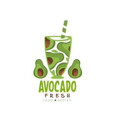logo with halves of green avocado in glass vector image