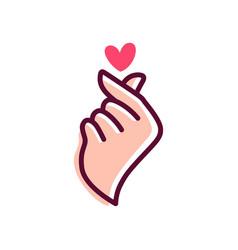 love finger heart korean gesture korea logo icon vector image