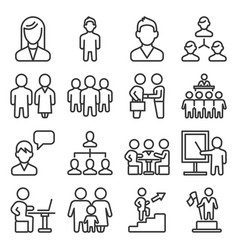 management and business persons icons set line vector image