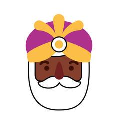 Manger wise king face christmas celebration vector