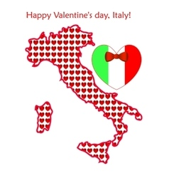 Map of italy with flags and hearts vector