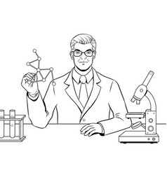 medical chemist scientist coloring book vector image