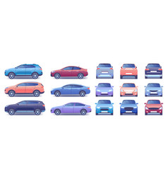 modern car set cartoon flat vector image
